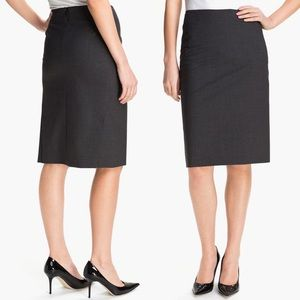 Theory Golda Tailor Pencil Skirt Gray Wool New NWT